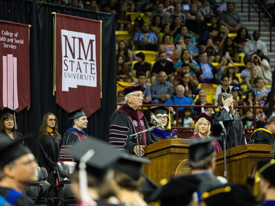 NMSU Chancellor Garrey Caruthers speaks to the graduating class at the 2017 NMSU commencement ceremony Saturday on May 13, 2017.