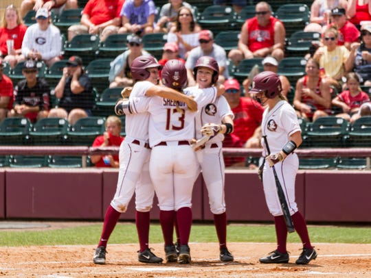 Florida State freshman Anna Shelnutt smacks a two-run