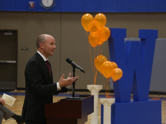 Lt. Gov. Spencer Cox speaks during a graduation ceremony at Water Canyon High School in Hildale on Monday, May 22, 2017.