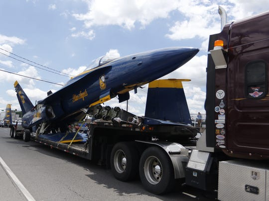 The F/A 18 Hornet that will be the centerpiece of the Capt. Jeff Kuss USMC Memorial in Smyrna arrived from Pensacola, Fla., Thursday, May 24, 2017.