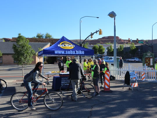 Cyclists stop in for snacks and conversation during
