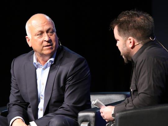Cal Ripken, Jr. speaks with Matt Zimmer of the Argus Leader during the Argus Leader Sports Awards on Saturday at the Pentagon.