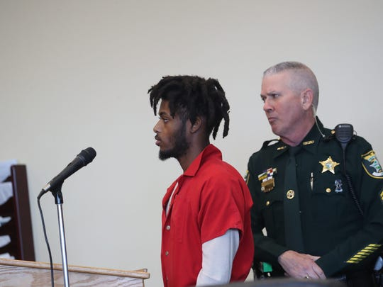 Natyri Pitts appears in a Lee County court recently. The 20-year-old was arrested with 20 others for alleged involvement in a criminal gang known as the Lake Boyz.