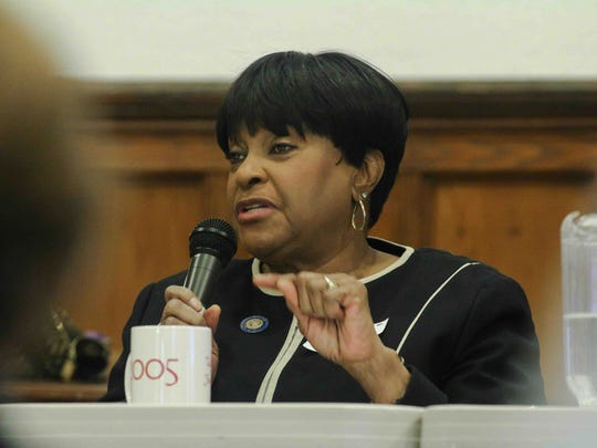 Representative Stephanie T. Bolden addresses members of audience during public hearing at Hanover Presbyterian Church in Jan. 2016 in Wilmington.