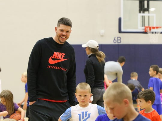 South Dakota native Mike Miller mingles with the kids during the Legends Basketball Clinic at the Pentagon on Saturday.