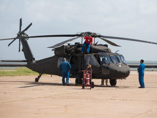 An Army UH-60L Blackhawk sits on the tarmac at Corpus Christi Army Depot on Wednesday, June 14, 2017.