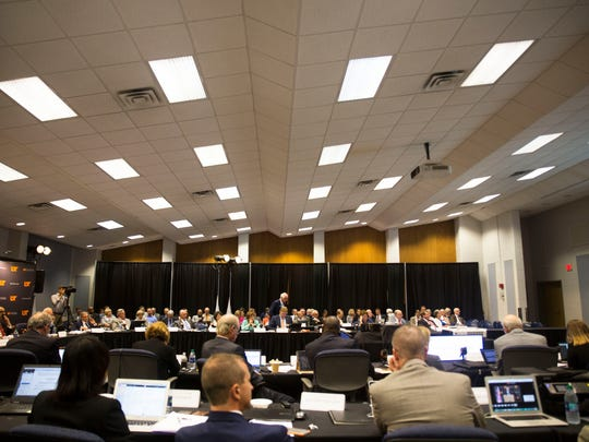 The University of Tennessee Board of Trustees gather for their annual meeting, discussing topics such as 2017-2018 tuition rates, a salary increase for President Joe DiPietro and a plan to award bonuses to other top administrators amongst other topics, on UT Knoxville's campus Thursday, June 22, 2017.