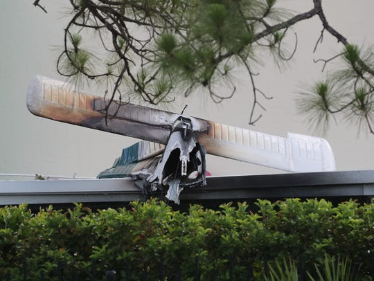 Scene from a plane crash Saturday, June 24, 2017, in