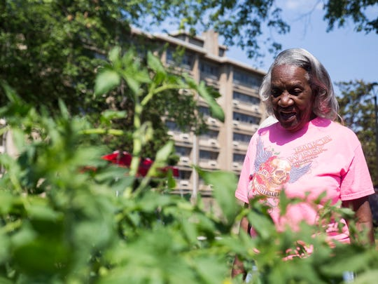 Love Towers Apartments resident and garden club member Sue Gable stands next to her garden in a raised bed outside the Love Towers Apartments on Thursday, June 29, 2017. The Community Action Committee, who oversees the garden added 6 new raised beds and added pathways so people with limited mobility can still garden.