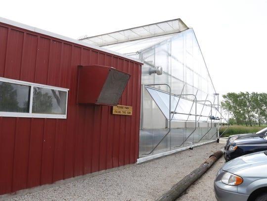 The exterior at Lake Orchard aquaponics Thursday June