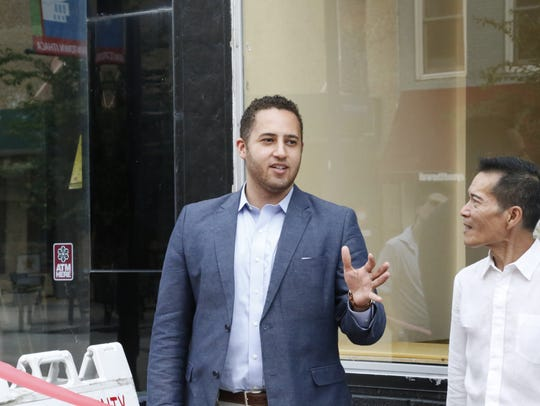 Ithaca Mayor Svante Myrick at the ribbon-cutting ceremony