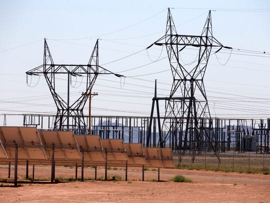 Towers and power lines in the Kayenta Solar Project