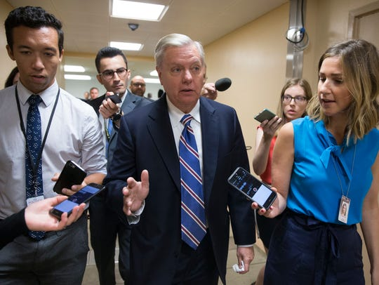 Sen. Lindsey Graham heads to Senate Republicans' meeting