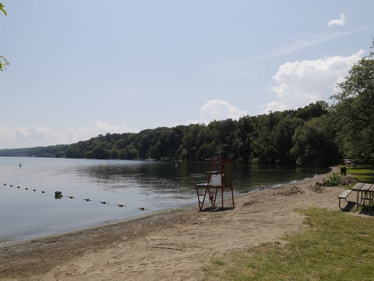 The swimming beach at Taughannock Falls State Park