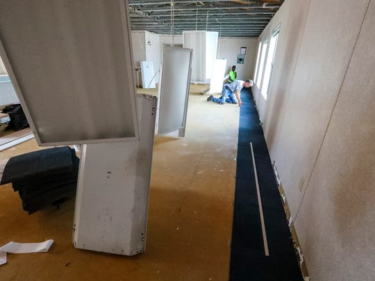 Lehigh Senior High School has four new portables. This one is in its early stages of being turned into a classroom.