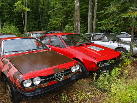 Various of models and makes of vehicles, including old military trucks, jeeps and some one-of-a-kind sports cars, are on display Thursday, August 3, 2017, at the Alfa Heaven Motorama Auto Museum in Aniwa.