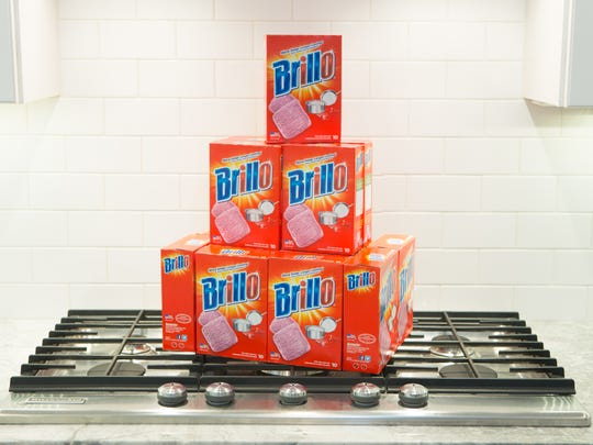 Contemporary Brillo products have an updated design that's different from the 1964 one used for Andy Warhol's Brillo box sculptures. Armaly Brands in Walled Lake, Michigan, now owns the Brillo brand.