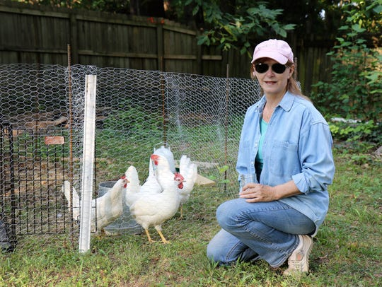Lynda Vince kneels by her red comb hens that represent