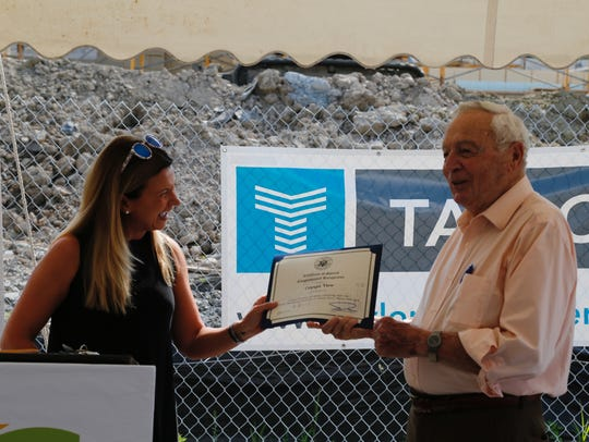 Manley Thaler received a Certificate of Special Congressional
