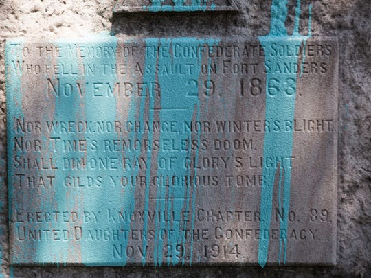 A confederate monument which was recently defaced with