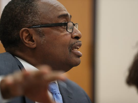 Attorney Roosevelt Randolph states his case to the Leon County Housing Finance Authority board during a meeting to discuss continuing its contract with the Knowles and Randolph firm at the LeRoy Collins Library on Thursday, Aug. 24, 2017. The meeting was scheduled after news of a federal indictment on for bribery charges on on firm attorney Harold Knowles.