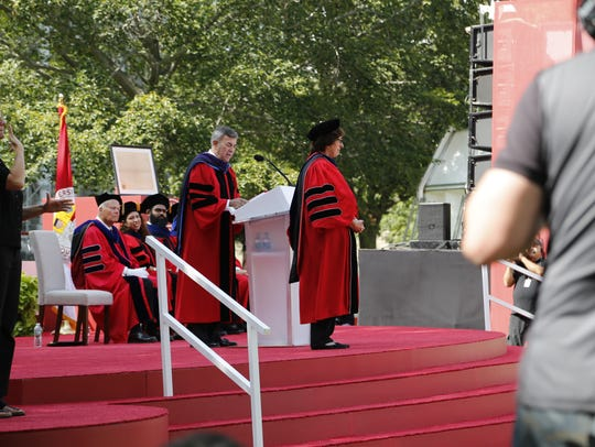 Cornell University President Martha Pollack is introduced