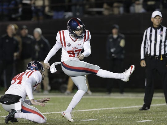 Ole Miss kicker Gary Wunderlich converted on 95.7 percent