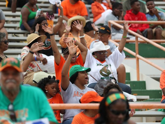 Fans watch as FAMU takes on Texas Southern during the Rattlers home opener at Bragg Stadium on Saturday, Aug. 26, 2017.
