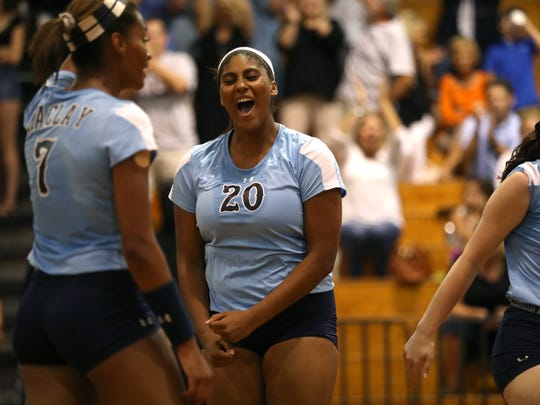 Maclay's Lauryn Parker celebrates a point against Chiles