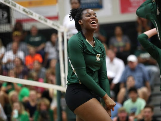 Lincoln's Veresia Yon celebrates a point against Chiles