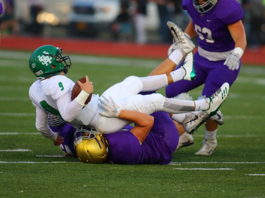 White Station's Drew Lyons finds a soft landing in the early going Friday night against CBHS.