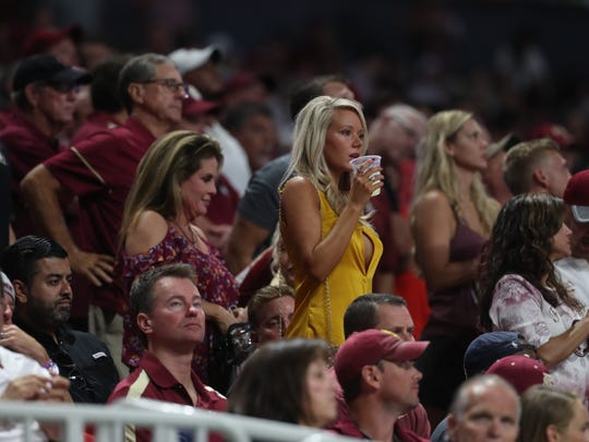 Football fans watch as FSU plays against Alabama at the Mercedes-Benz Stadium in Atlanta on Saturday, Sept. 2, 2017.