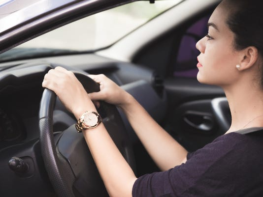 Woman driving carefully