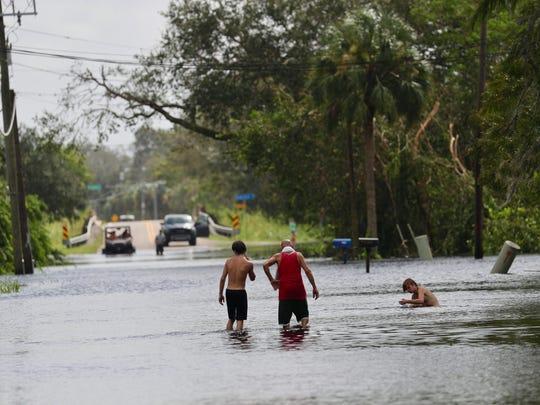 Orange River Road at Long Lake Drive in Buckingham has major flooding.