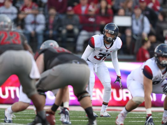 Safety Tristan Cooper (31) during the Wildcats 69-7 loss to the Washington State Cougars on November 5, 2016.