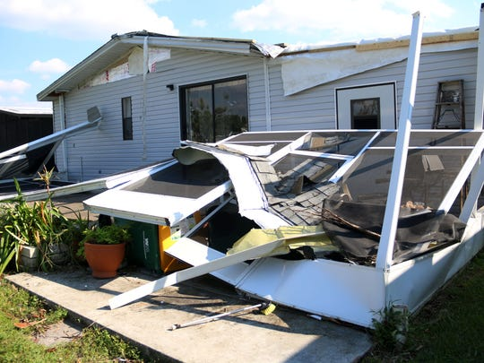 Hurricane Irma's winds tore away Dick Muterspaw's lanai at his home in the Enchanting Shores retirement community in East Naples.