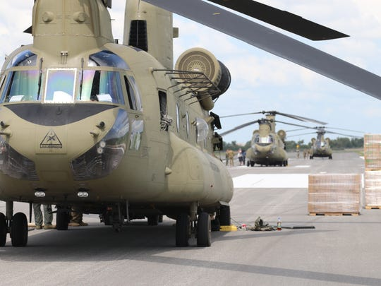 More than 13,000 packaged meals from FEMA were loaded onto three Chinooks from the 2nd Battalion, 501st Aviation Regiment at Randolph Air Force Base outside San Antonio. The meals were delivered to officials in Orange, Texas, for distribution to flood victims following Hurricane Harvey.