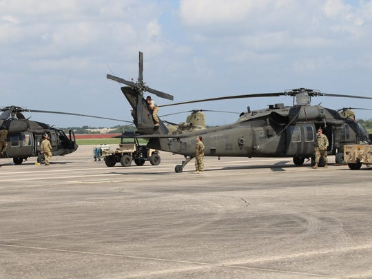 Maintenance crews from the 127th Aviation Support Battalion and the 2nd Battalion, 501st Aviation Regiment deployed to Kelly Field near San Antonio for Hurricane Harvey relief efforts. They worked day and night to make sure that each helicopter in the brigade remained prepared to fly every mission received.