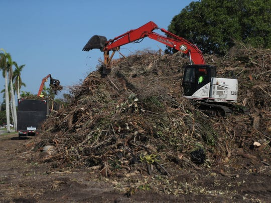 Huge debris piles are showing up throughout Lee County.