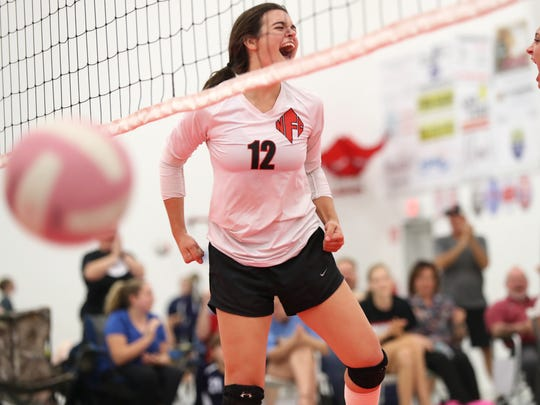 NFC's Alicia Price celebrates a point during their match against Community Christian at the ProStyle Volleyball Academy on Tuesday.