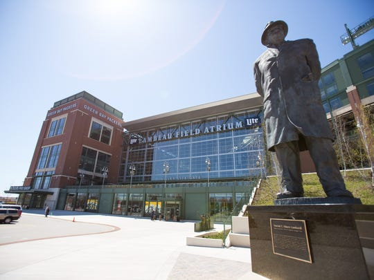 A Vince Lombardi statue stands outside Lambeau Field