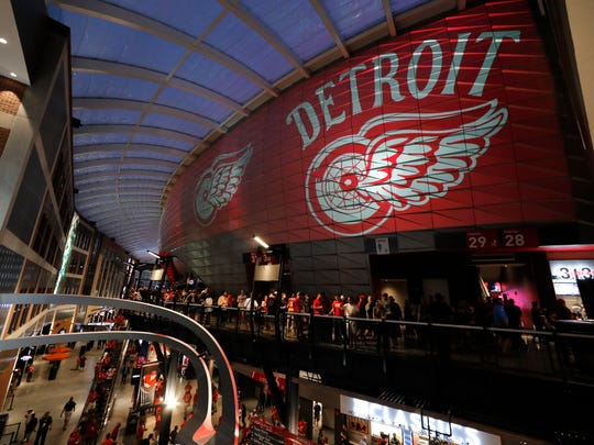 The concourse at Little Caesars Arena is viewed during a NHL preseason hockey game between the Detroit Red Wings and the Boston Bruins, Saturday, Sept. 23, 2017, in Detroit. (AP Photo/Paul Sancya)