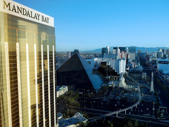 The Mandalay Bay Resort and Casino, at left, stands