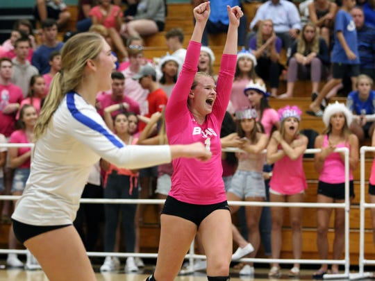 Barron Collier's Lexie Hamilton (1) celebrates a point during the rematch of the Barron Collier versus Gulf Coast crosstown rivalry match at Gulf Coast on Wednesday, Oct. 4, 2017.