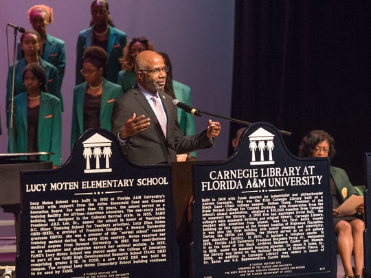 FAMU Interim President Larry Robinson unveiled three historical markers issued to the university by the state, in recognition of its historical impact in Florida, that will be installed at a later date.