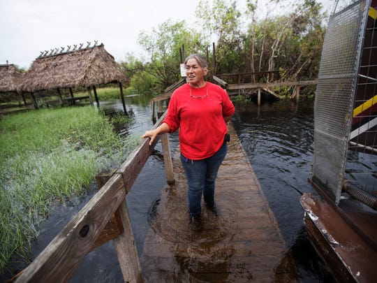 Betty Osceola, a member of the Miccosukee tribe stands