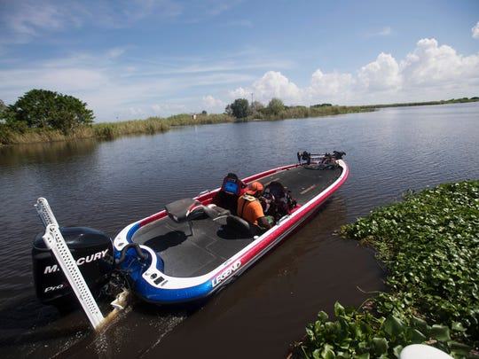 Clewiston resident Keith White heads out on Lake Okeechobee on Monday 10/9/2017. The lake is sitting at 17 feet 1 inch.  Florida Governor Rick Scott made a visit to talk with officials about the health of the Herbert Hoover Dike.