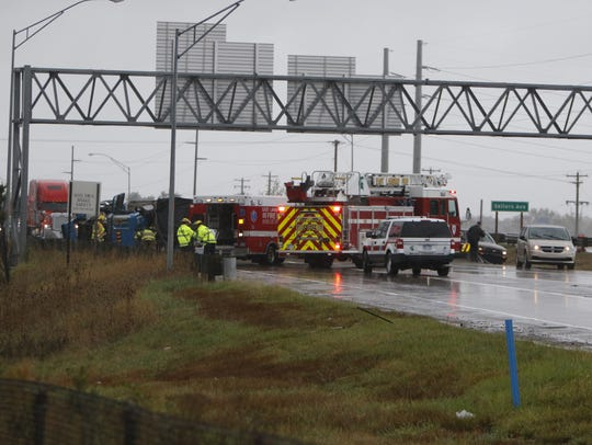 A gravel hauler tipped over today on northbound US-127,