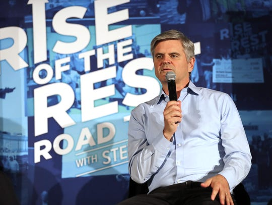 AOL co-founder and Revolution LLC Chairman Steve Case speaks during the October 2017 Rise of the Rest entrepreneur pitch contest at Lambeau Field in Green Bay, Wisconsin.