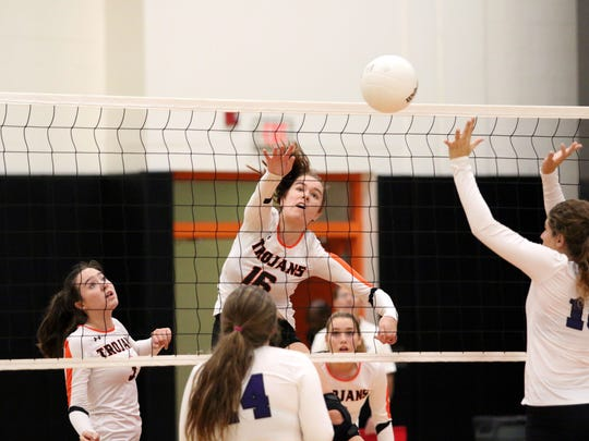 Lely senior Payge Sutton hits the ball during the Class 6A-District 12 championship between Lely and Cypress Lake in Naples on Thursday, Oct. 19, 2017. With a three-game sweep, Lely won its seventh straight district title and will face Dunedin on Wednesday in the regional tournament.